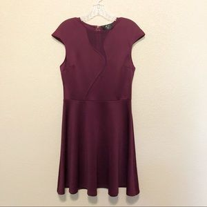 AX PARIS Plum Mesh Cut Out Slate Dress